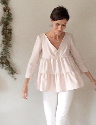 patron de couture pdf ou pochette blouse ou robe femme Eugénie ...