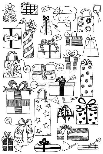 Hand drawn doodles of gift wrapped presents and gift tags…