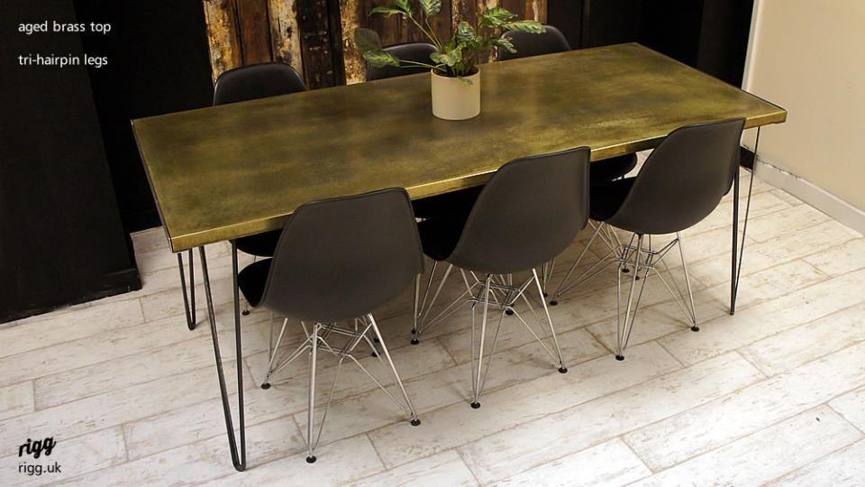Brass Top Hairpin Leg Dining Table Brass