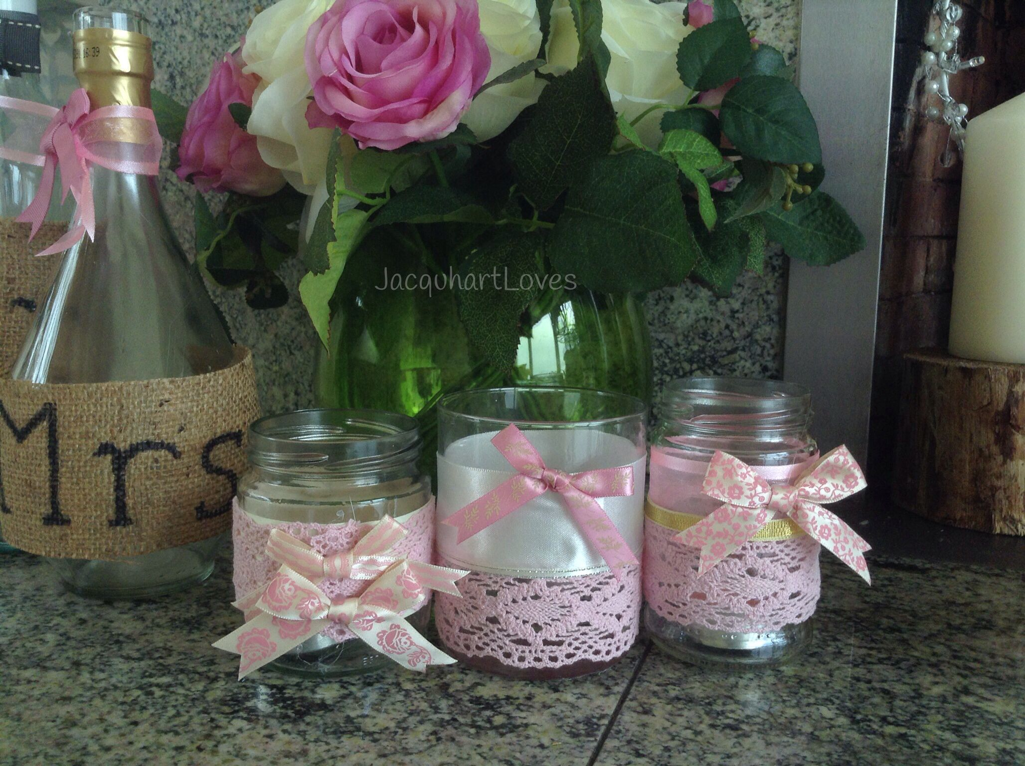 Wedding Inspiration - Homemade candle holders, made from jam jars and wine  bottles, decorated
