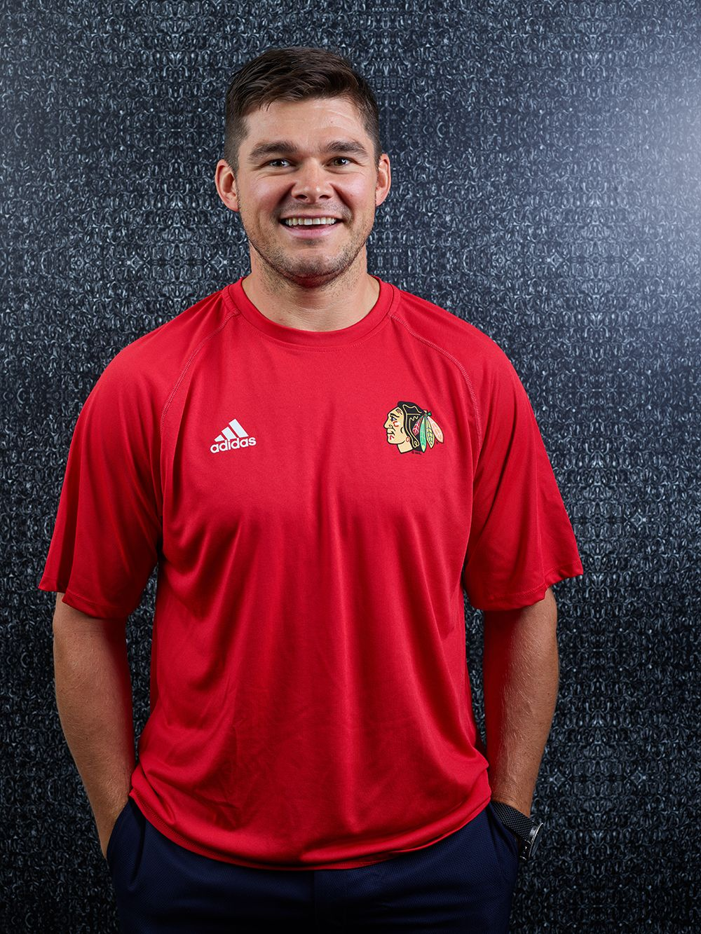 f16698302a Chris Kunitz is wearing the adidas Left Blocker Tee! Visit the Blackhawks  Store on Michigan Avenue or call 312-759-0079 to order.