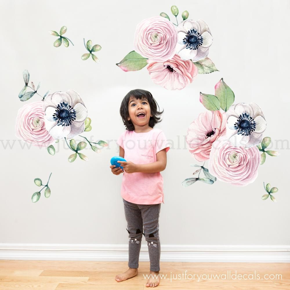 Spring Flower Wall Decals Watercolor Floral Wall Decals Mini