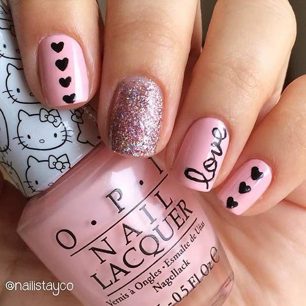 27 Pretty Nail Art Designs for Valentine\'s Day | Short nails, Shorts ...