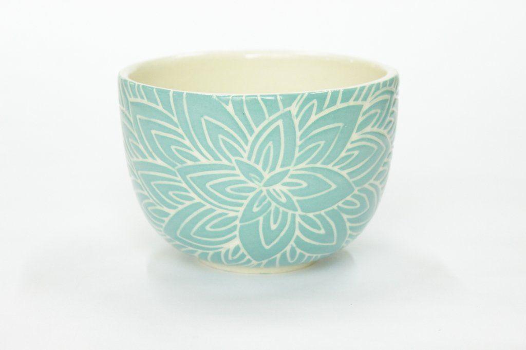 Cuenco Flor De Loto Verde Random Stuff Ceramics Pottery Sgraffito