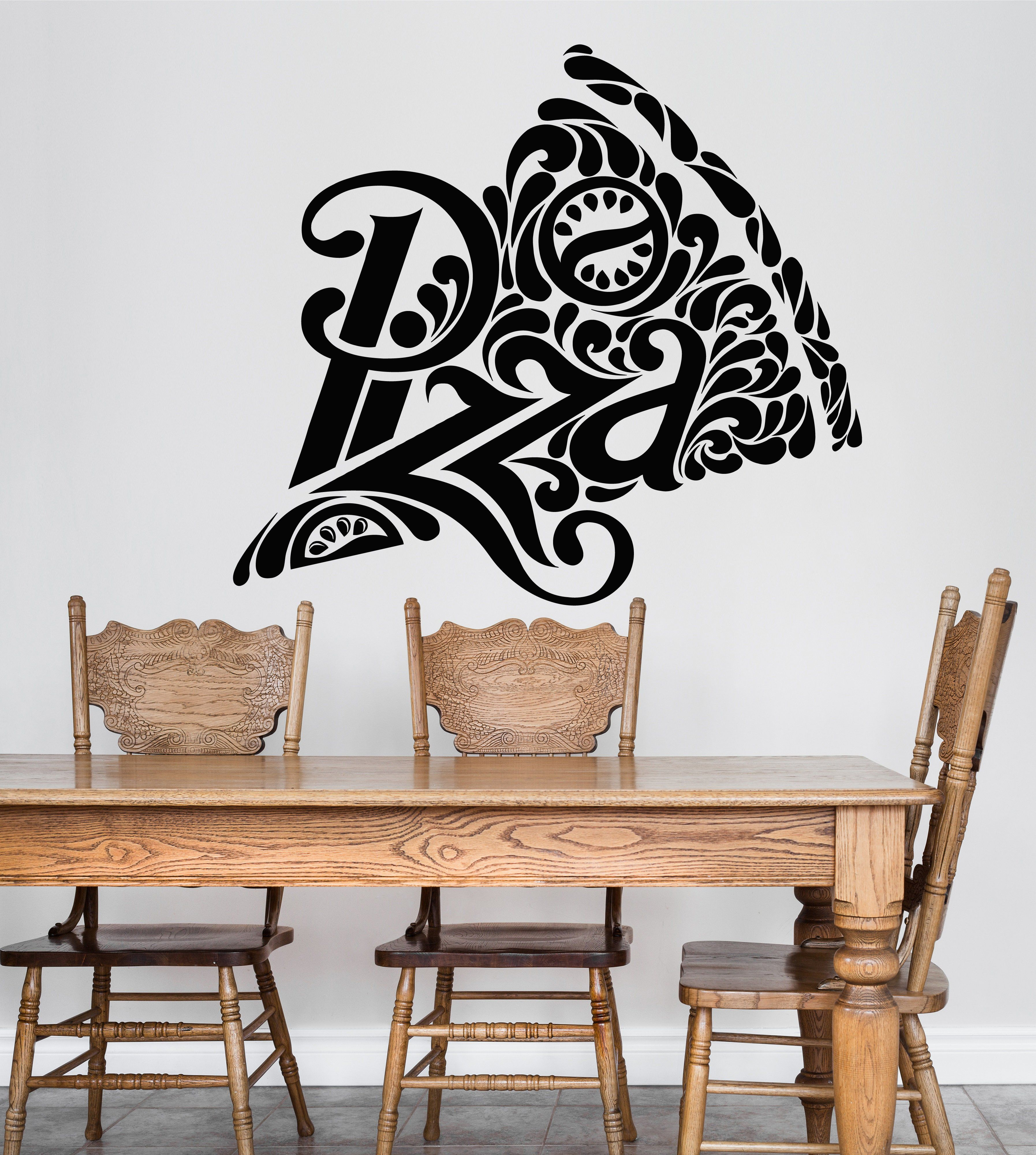 vinyl wall decal pizza pizzeria logo signboard fast food on wall logo decal id=43289