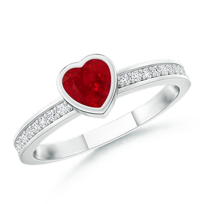 Angara Classic Solitaire Ruby Promise Ring with Pave Diamonds in White Gold 3LFX0X