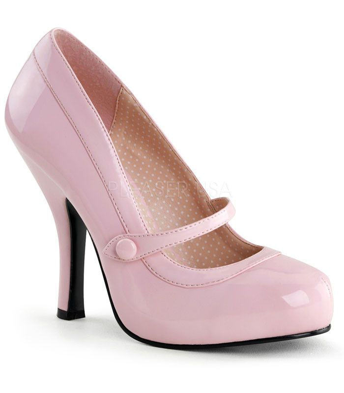 Pinup Couture Cutiepie Pink Patent Baby Doll Pumps - The Atomic Boutique