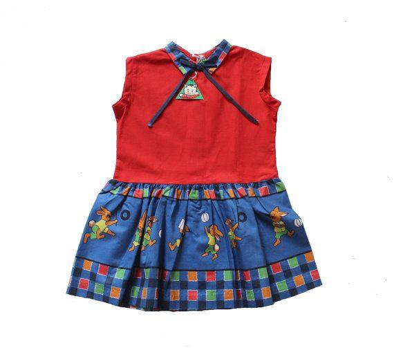 VINTAGE 60's / enfant /  robe / rouge vif  par Prettytidyvintage