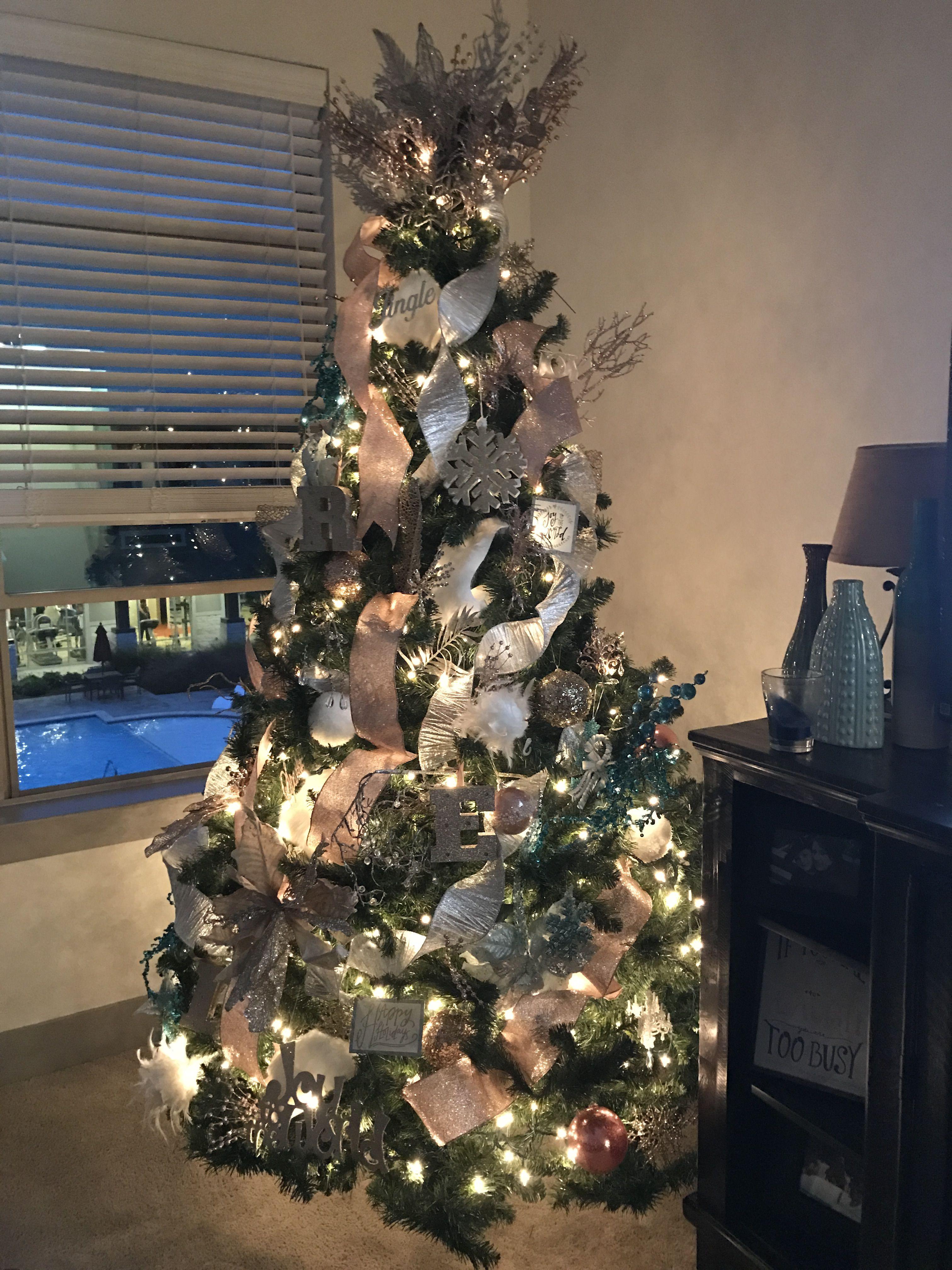 Metallic Christmas Tree Rose Gold Silver Gold Touch Of Turquoise Metal Christmas Tree Christmas Decorations Metallic Christmas