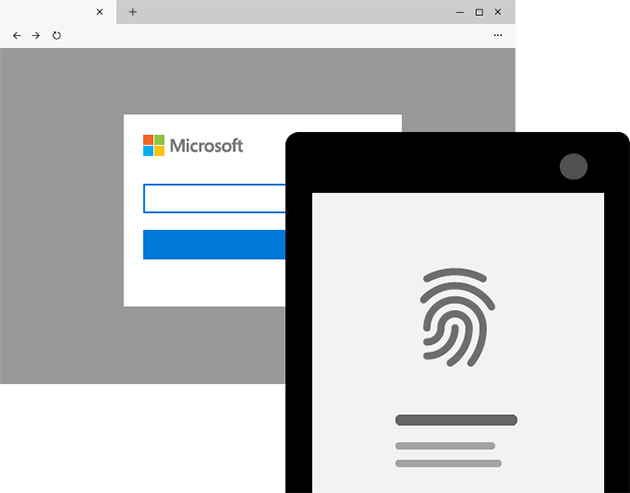 The Microsoft sign in screen is paired with a phone