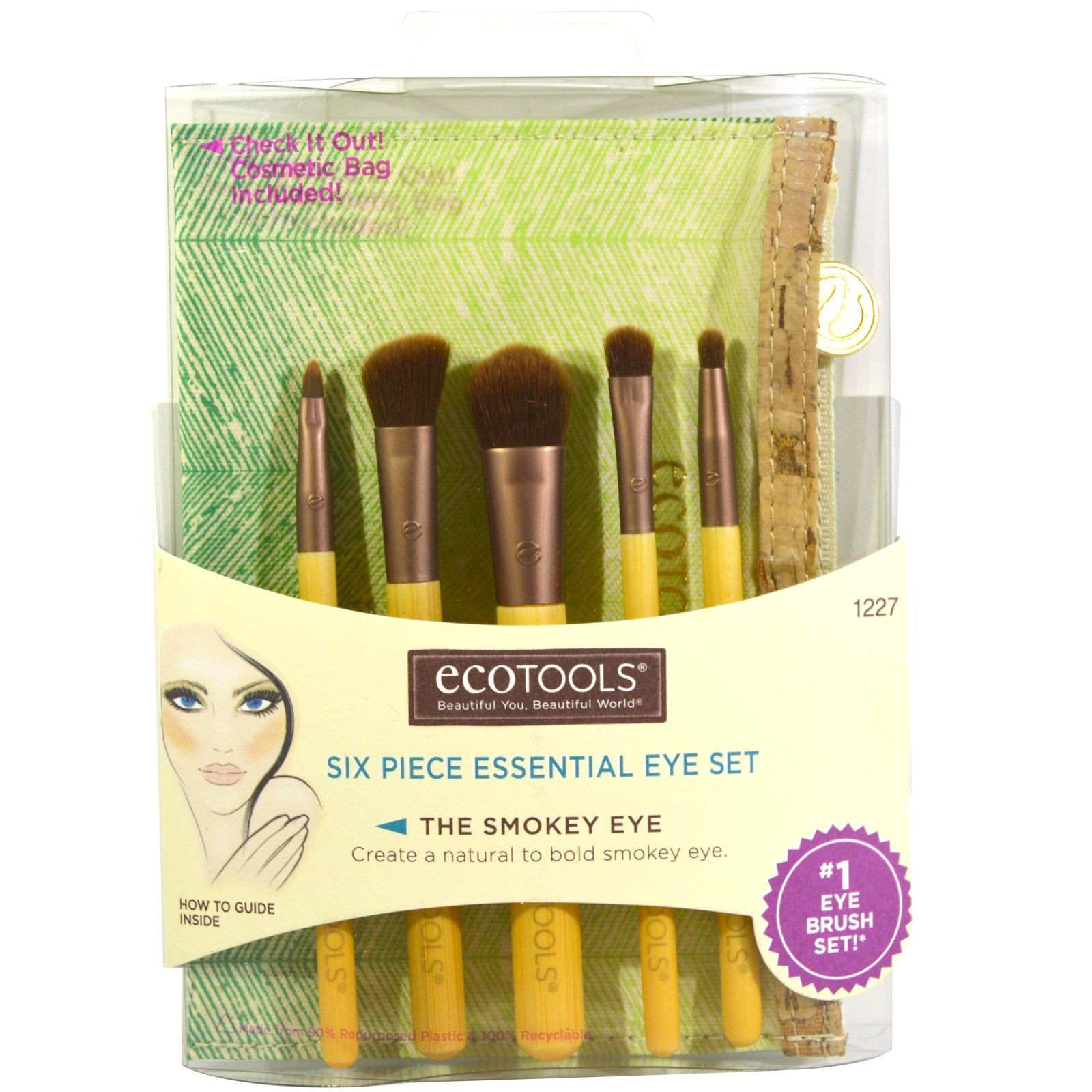 EcoTools, Six Piece Essential Eye Set, 5 Brushes, 1 Travel