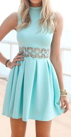 8157acbafdf New Arrival blue Sleeveless Turtleneck Lace Stitching Mint women dress Cute Party  summer dress Casual Slim vestidos
