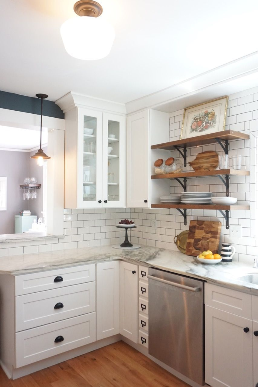 Vintage kitchen remodel. White shaker cabinets, marble countertops ...