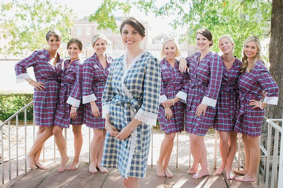 cca82f56d1 Set of 7 Cozy Flannel Plaid Robes- for the entire bridal party ...