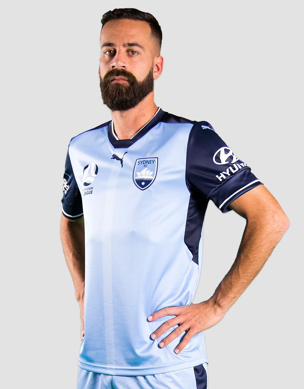 46dce6ff68b The new Sydney FC 2017-18 jerseys are based on an old Puma Arsenal template  and feature the club s new logo.