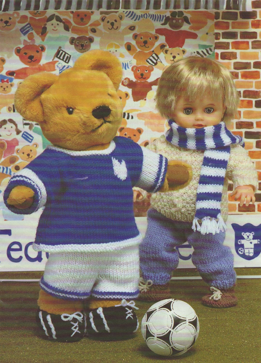 3107c890a Teddy Bear Football Kit & Dolly Clothes Knitting Pattern . 15, 17 and 19  inch