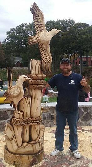 Endicott college mascot seagull ocean carving live