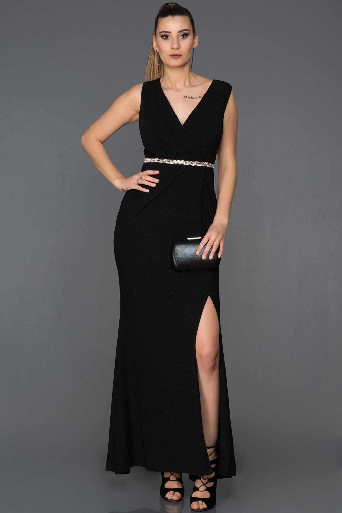 8b7136ef9a52f Yırtmaçlı V Yaka Abiye AB5026 | abiyeler elbiseler | Elbise ...