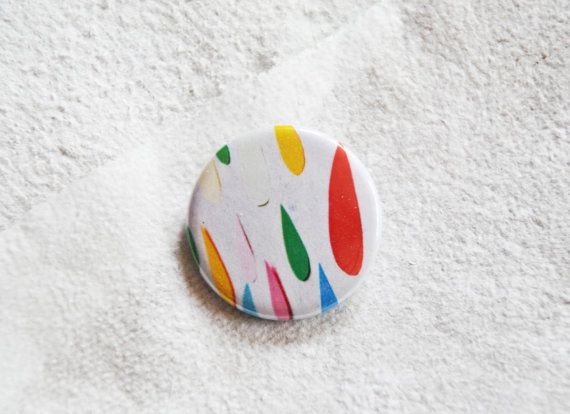 rainbow drop pin illustrated colors rain button brooch by ireneagh