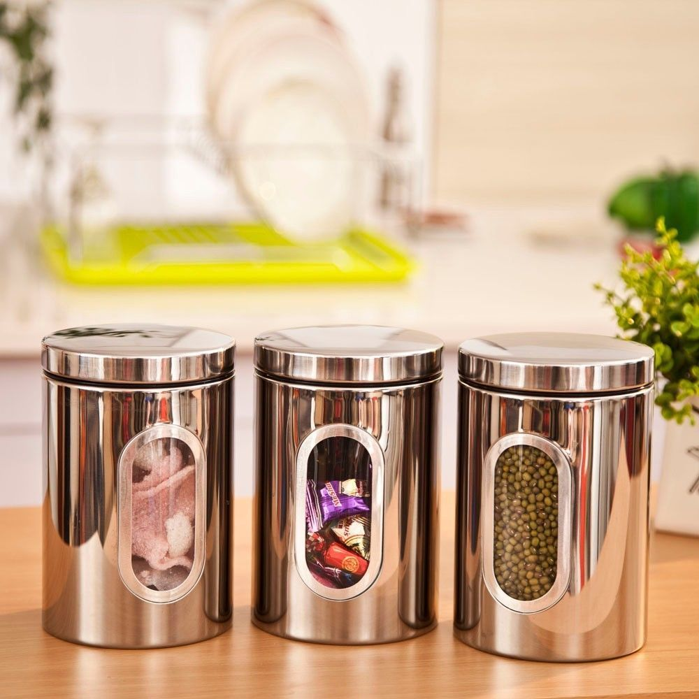 Stainless Steel Storage Canister Window Jar Stackable Bottle Box Tea Coffee Jar Storage Kitchen Jars Storage Kitchen Canisters