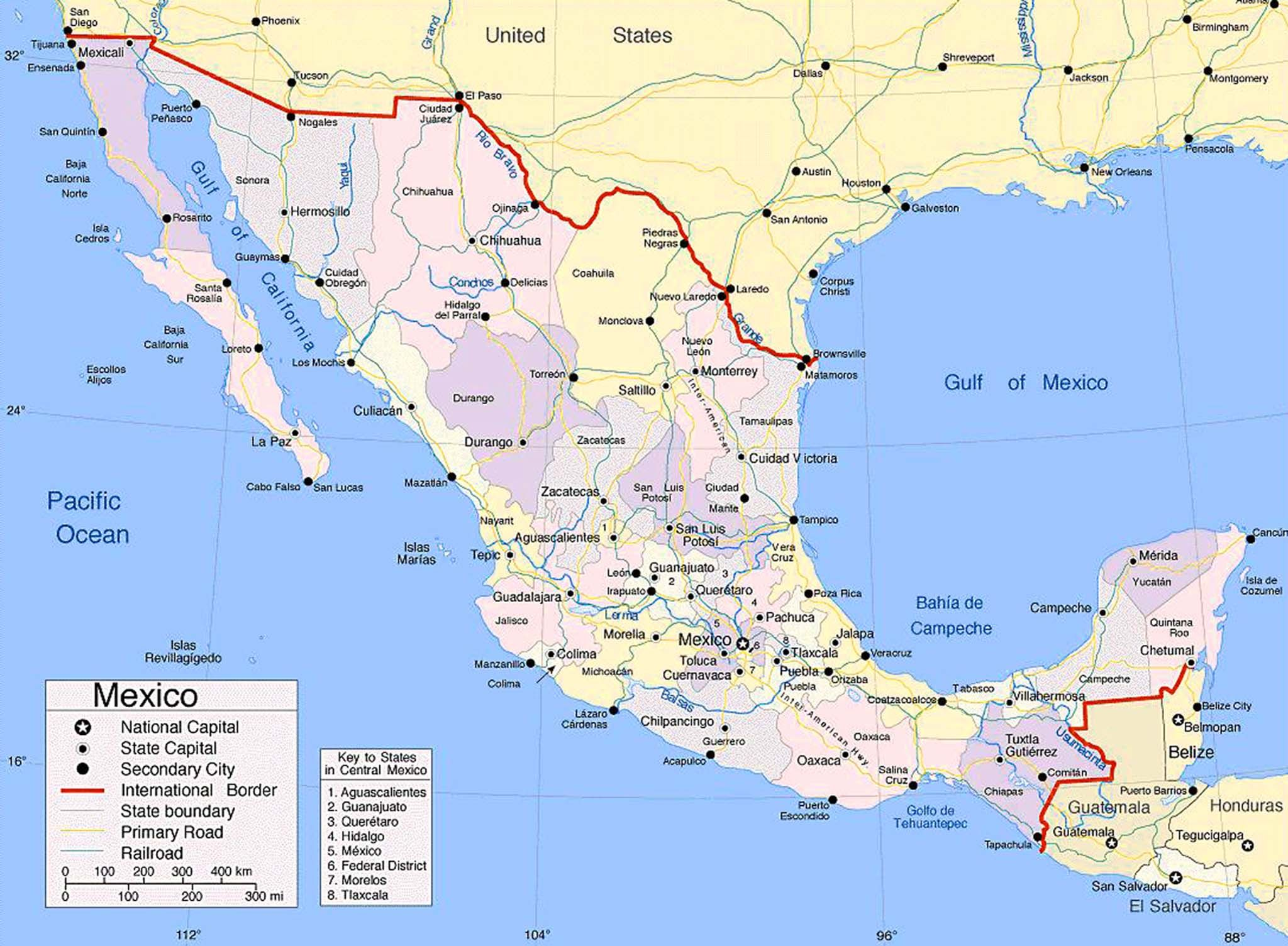 map of mexico cities large size map of mexico showing the cities