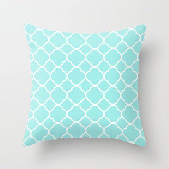 Aqua Pillow Quatrefoil Velvet Throw Room Decor S Bedroom Tween