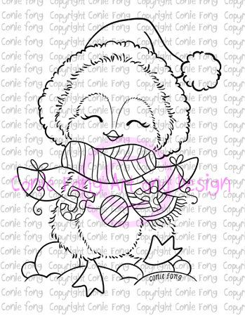 Digital Stamp, Digi Stamp, Joy to the World by Conie Fong, Penguin - new christmas coloring pages penguins