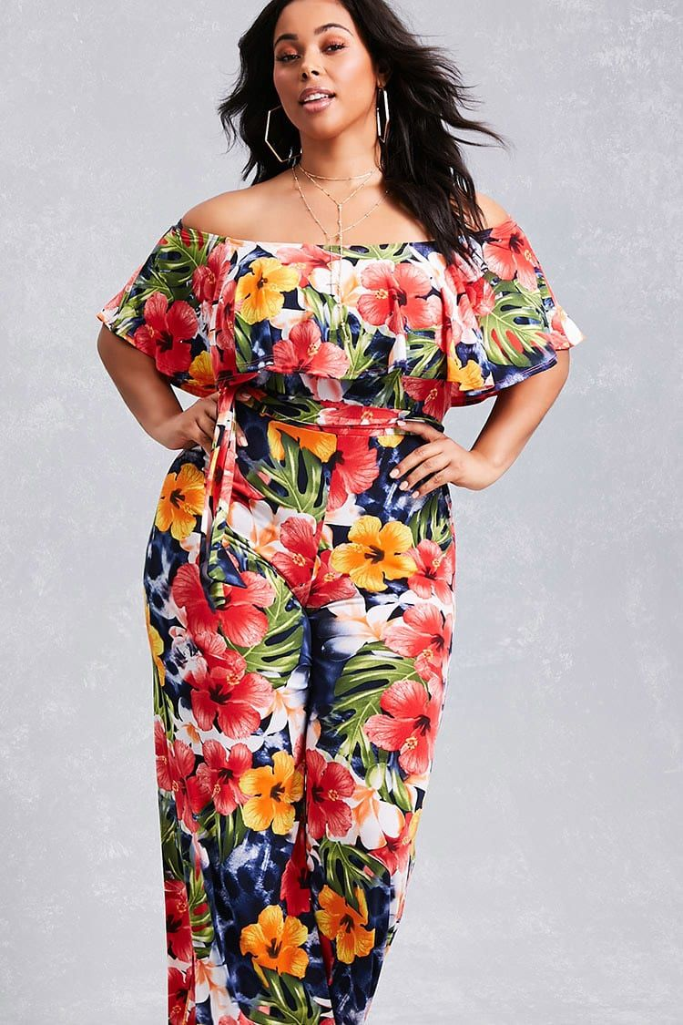 d82ff5cc0693 Forever 21+ - A stretch-knit jumpsuit featuring an allover tropical floral  print