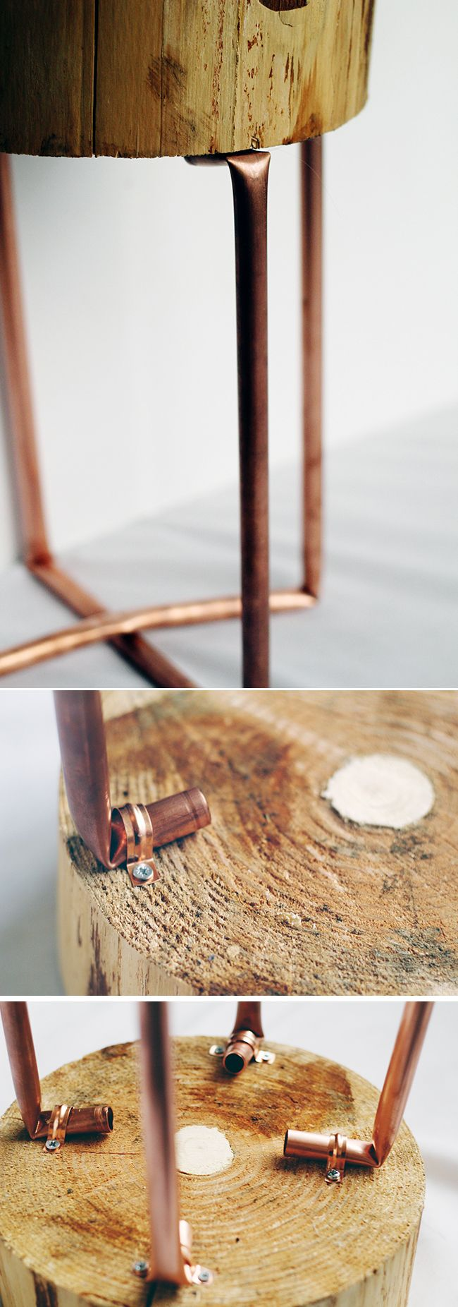 DIY Copper and Wood Slice Table Tutorial by fall for diy