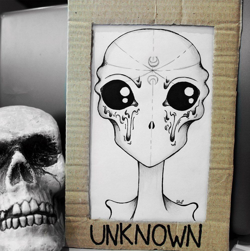 draw #drawing #alien #skull #iddyallen #moon #eyes #pen #pencil ...