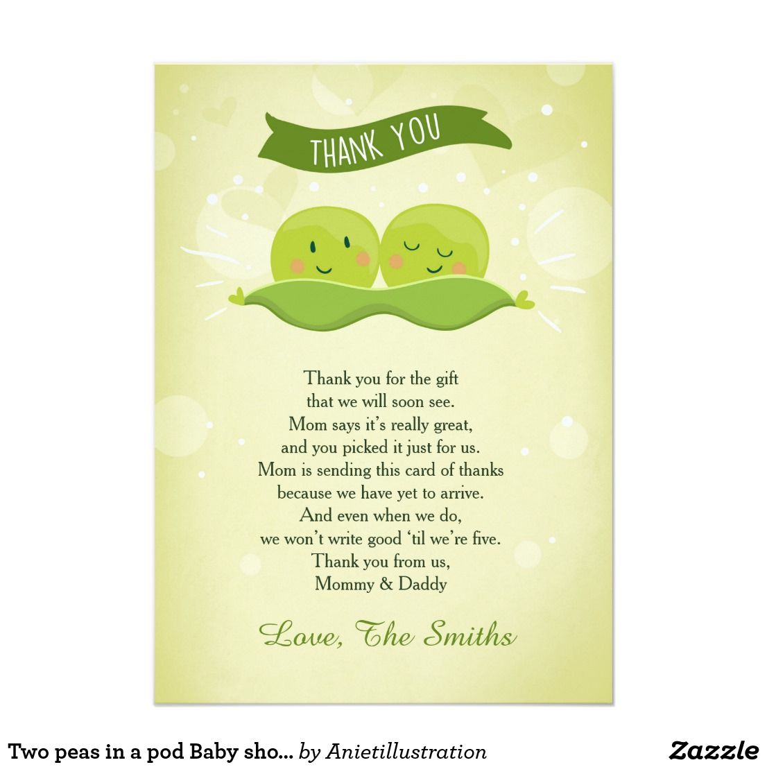 Two Peas In A Pod Baby Shower Thank You Card Twin Oh Baby