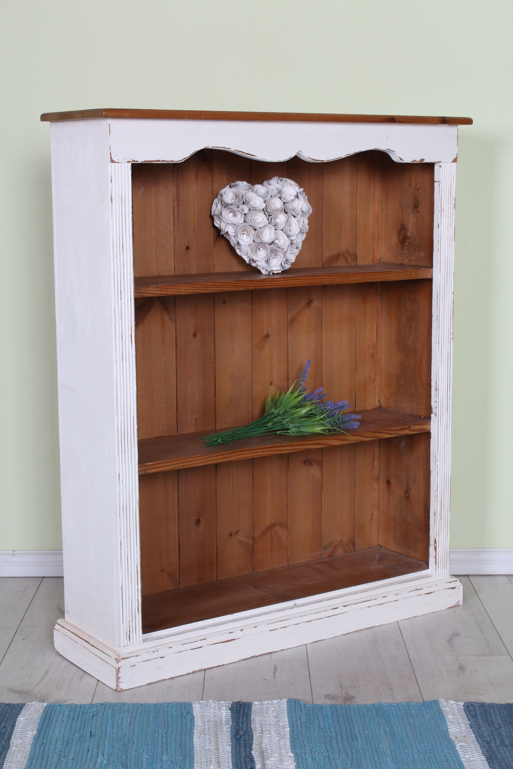 89 Shabby Chic Pine Bookcase Hand Painted With Authentico Chalk Paint Distressed