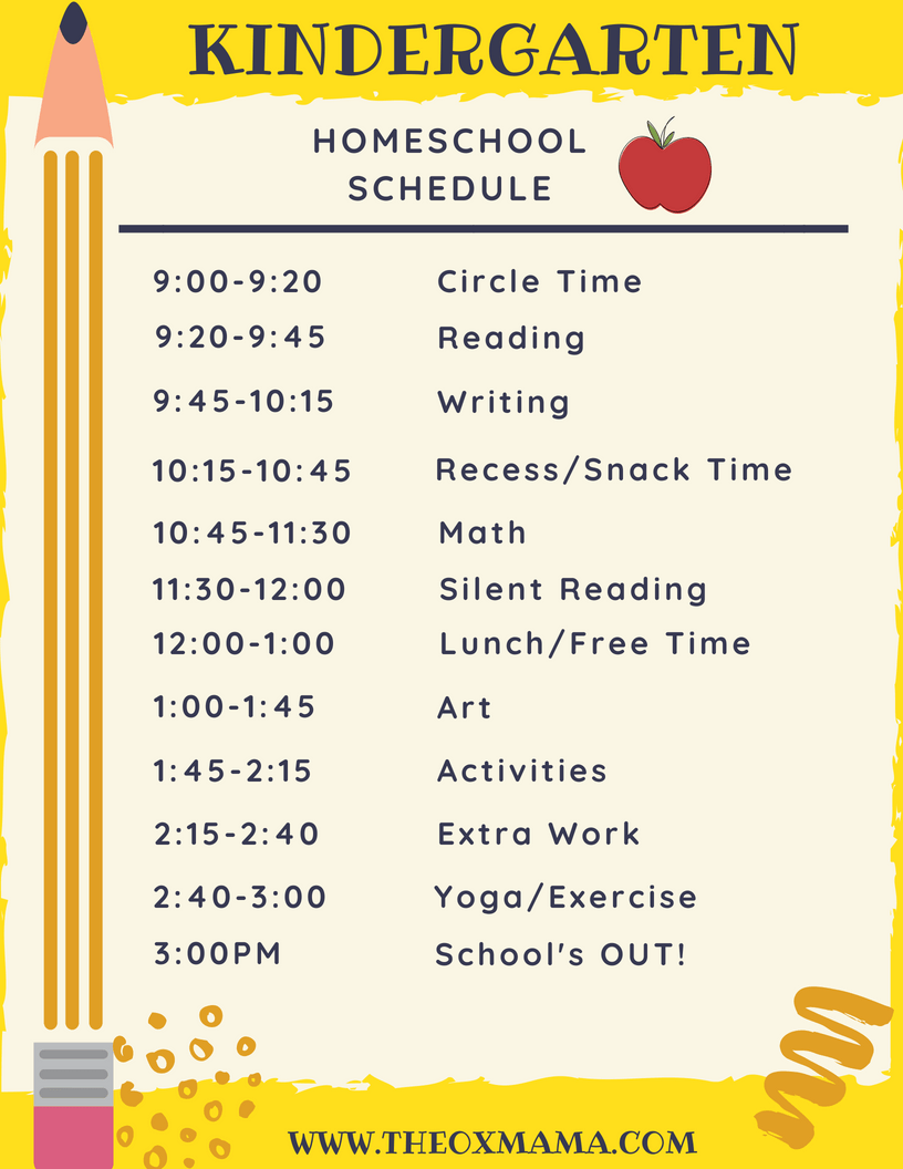 Homeschool Kindergarten Schedule And Curriculum Homeschool