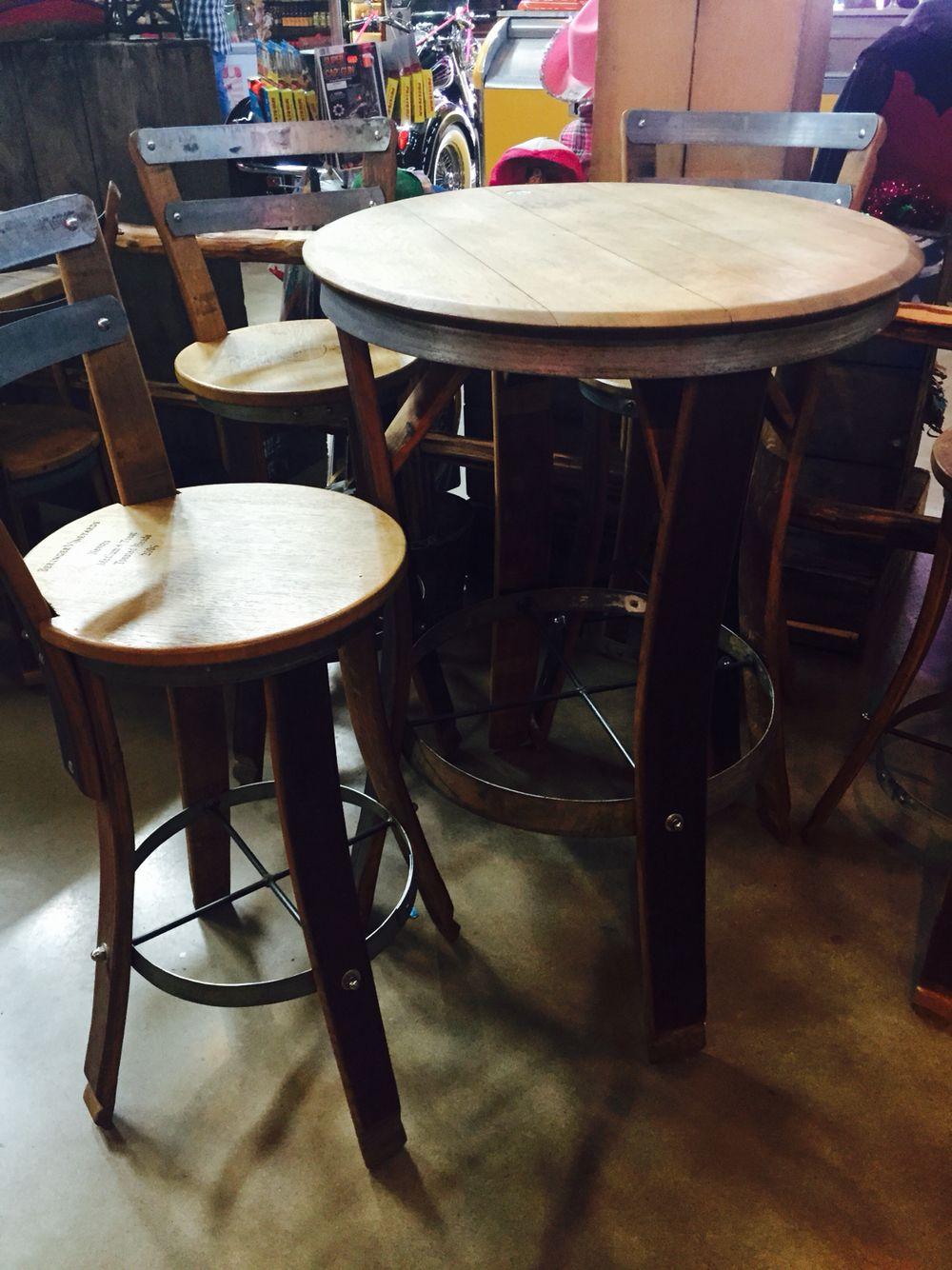 Wine Barrel Bistro Set Wine Barrel Furniture Pinterest  # Muebles Pompeya