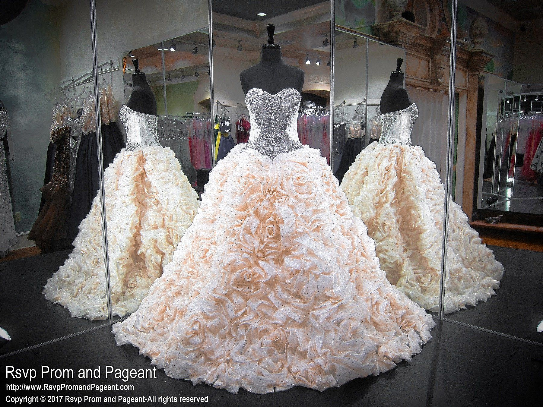 Light gold strapless sweetheart beaded quinceanera pageant dress