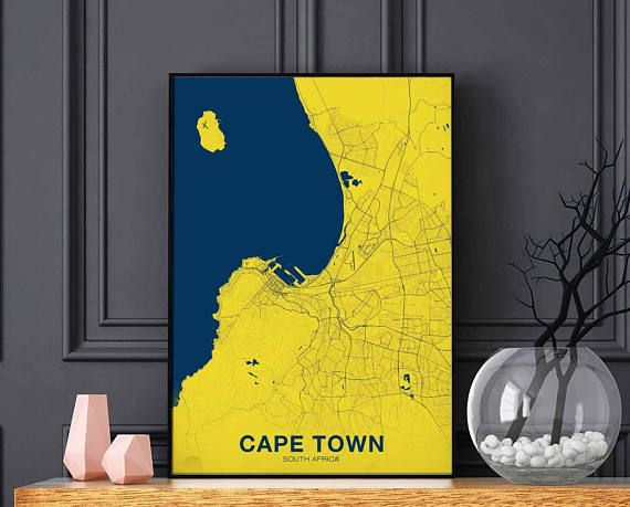 CAPE TOWN South Africa map poster color wall decor design modern ...