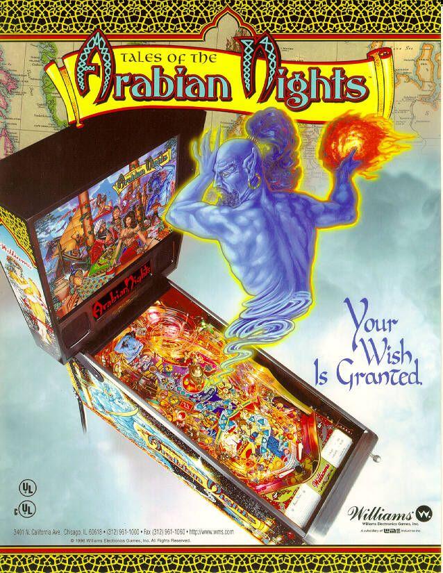 Flyer De La Pinball Tales Of The Arabian Nights Recrena Las Mil Y Una Noches Pinball Arcade