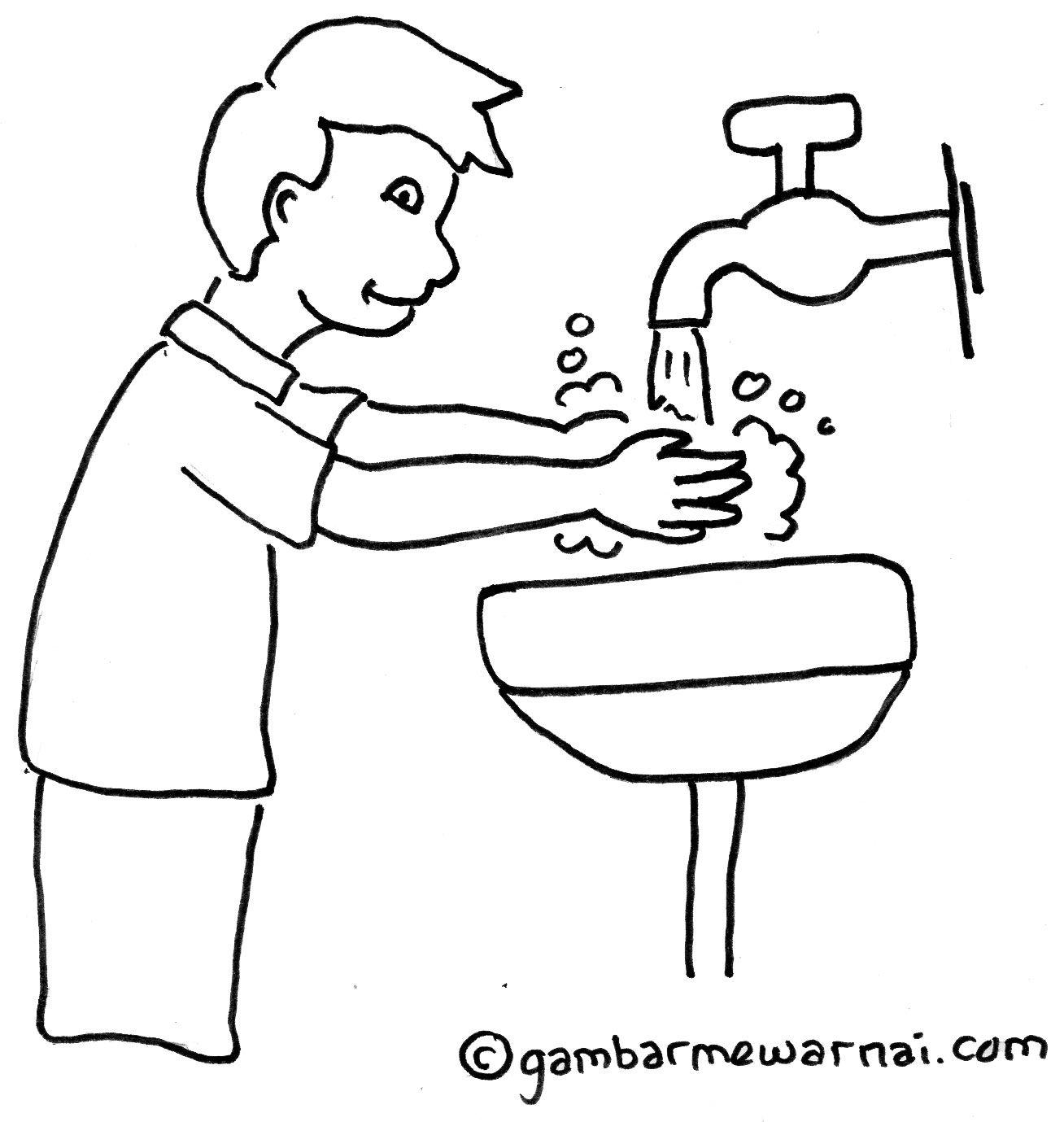 Contoh Gambar Mewarnai Anak Mencuci Tangan Kartun