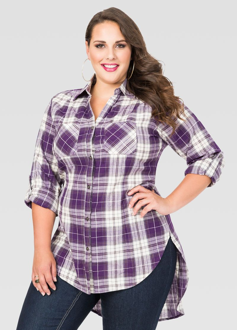 Flannel shirt outfits for women  Plaid HiLo Tunic Shirt  My Style  Pinterest  Plaid Tunic shirt