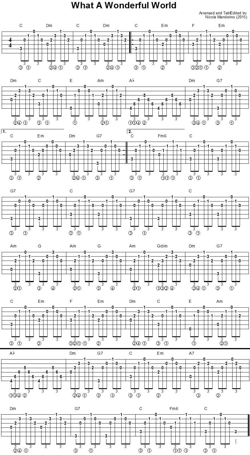 What A Wonderful World Guitar Chords Tab Air Jordan Pinterest
