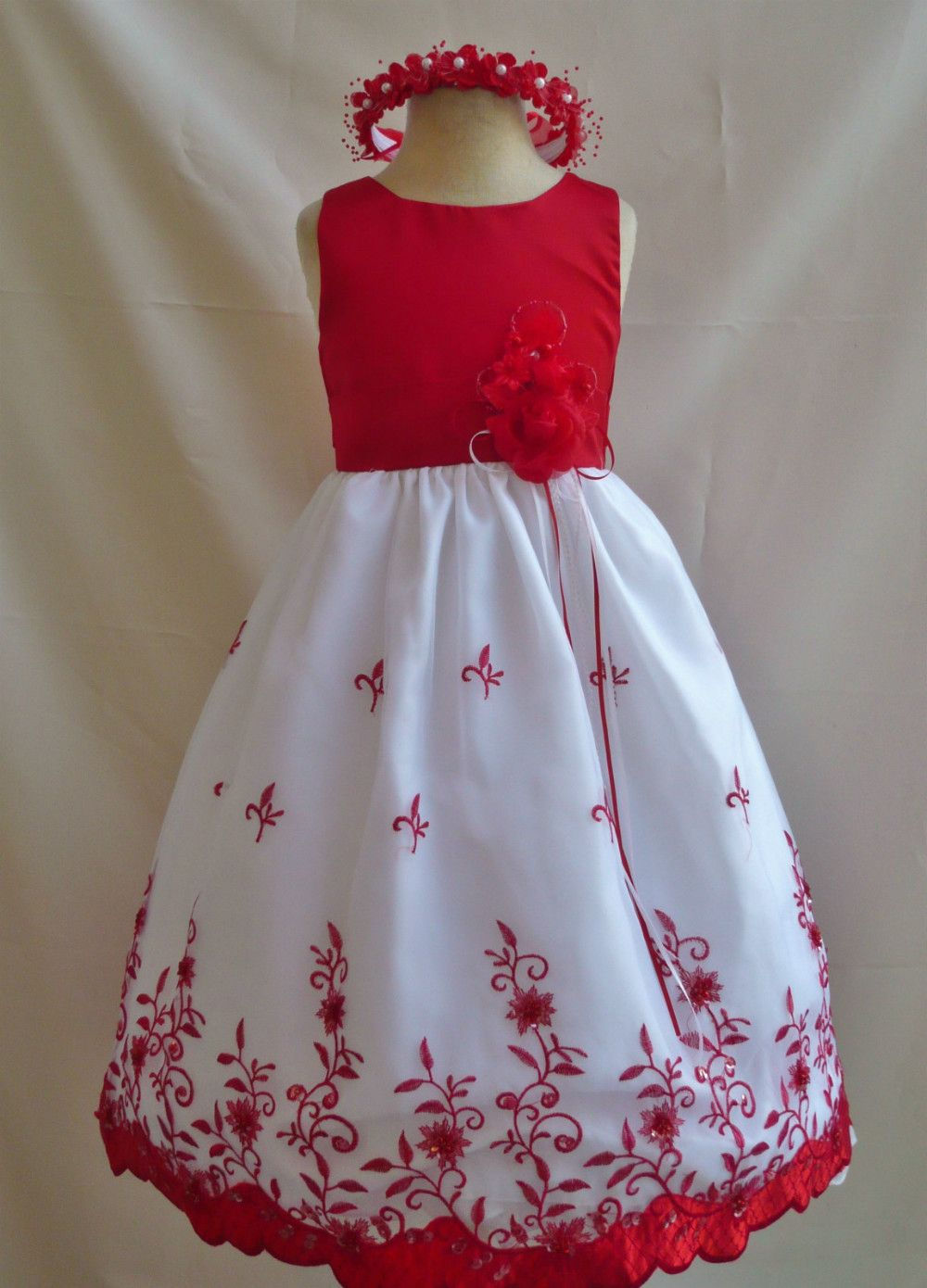 a7d66c7403 WHITE IVORY RED PURPLE PINK WINE BLACK PARTY FLOWER GIRL DRESS 18M 2 4 6 8  10 12