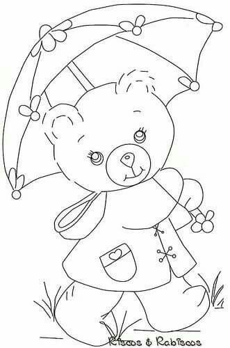 Oso Paraguas Fabric Painting Applique Patterns Coloring Books