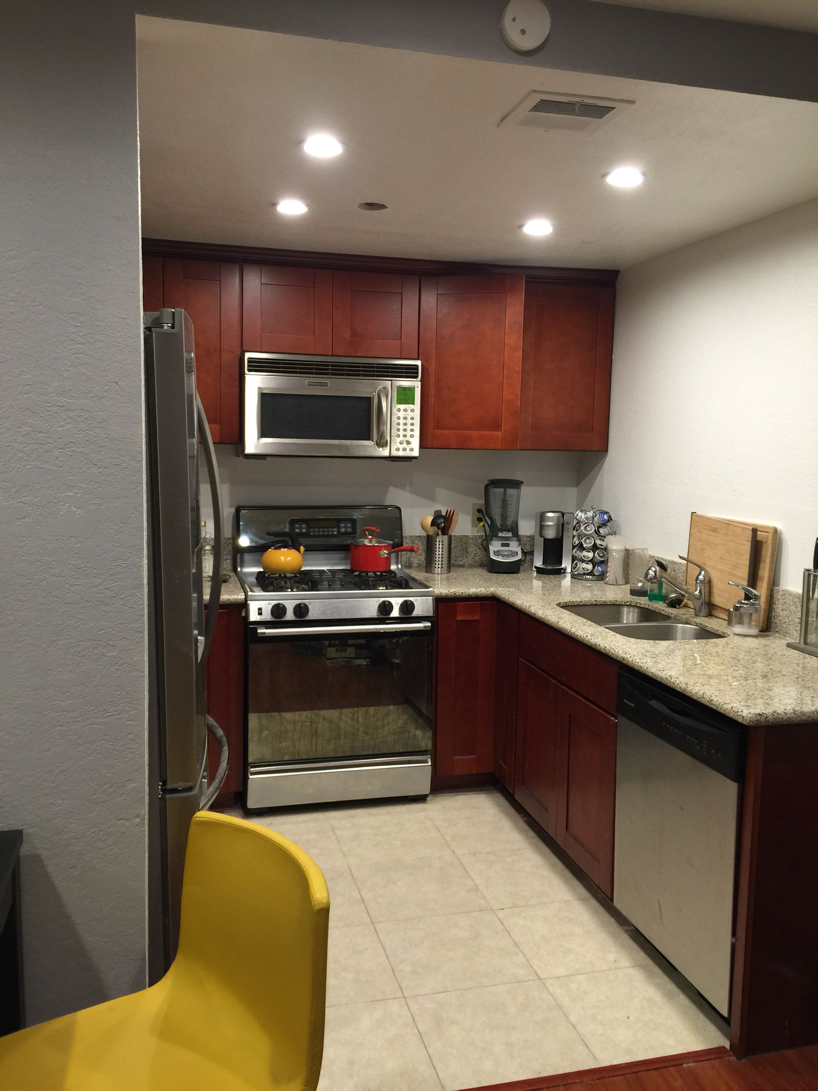 After: Quick remodel by adding recessed lighting | Kitchen ...