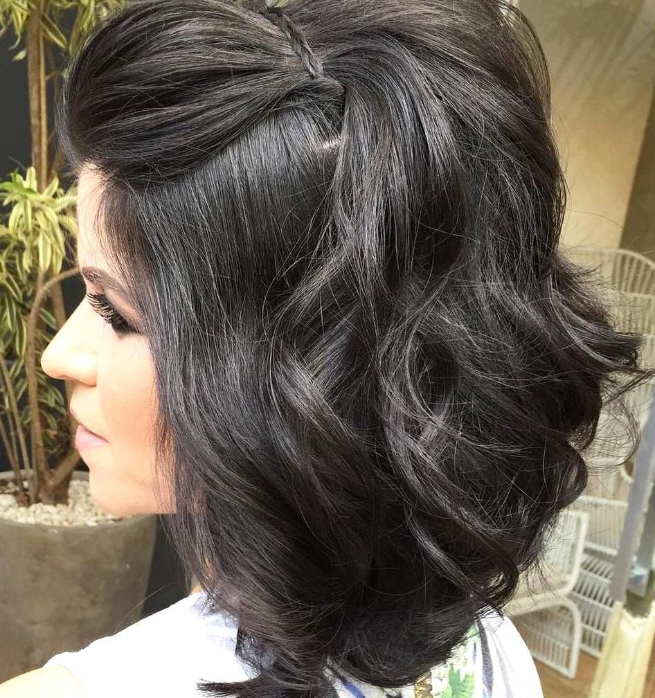 Formal Half Updo For Medium Hair In 2020 Medium Hair Styles Bridemaids Hairstyles Formal Hairstyles For Long Hair