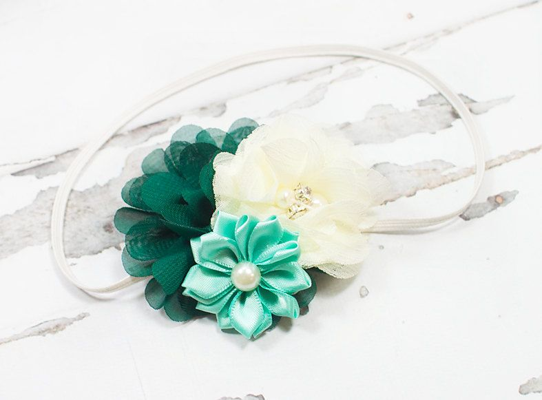Precious Petite headband in jade green, aqua and cream/ivory by SoTweetDesigns on Etsy