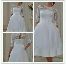Vintage thé longueur blanc/ivoire dentelle robe de mariage taille 6-18 uk