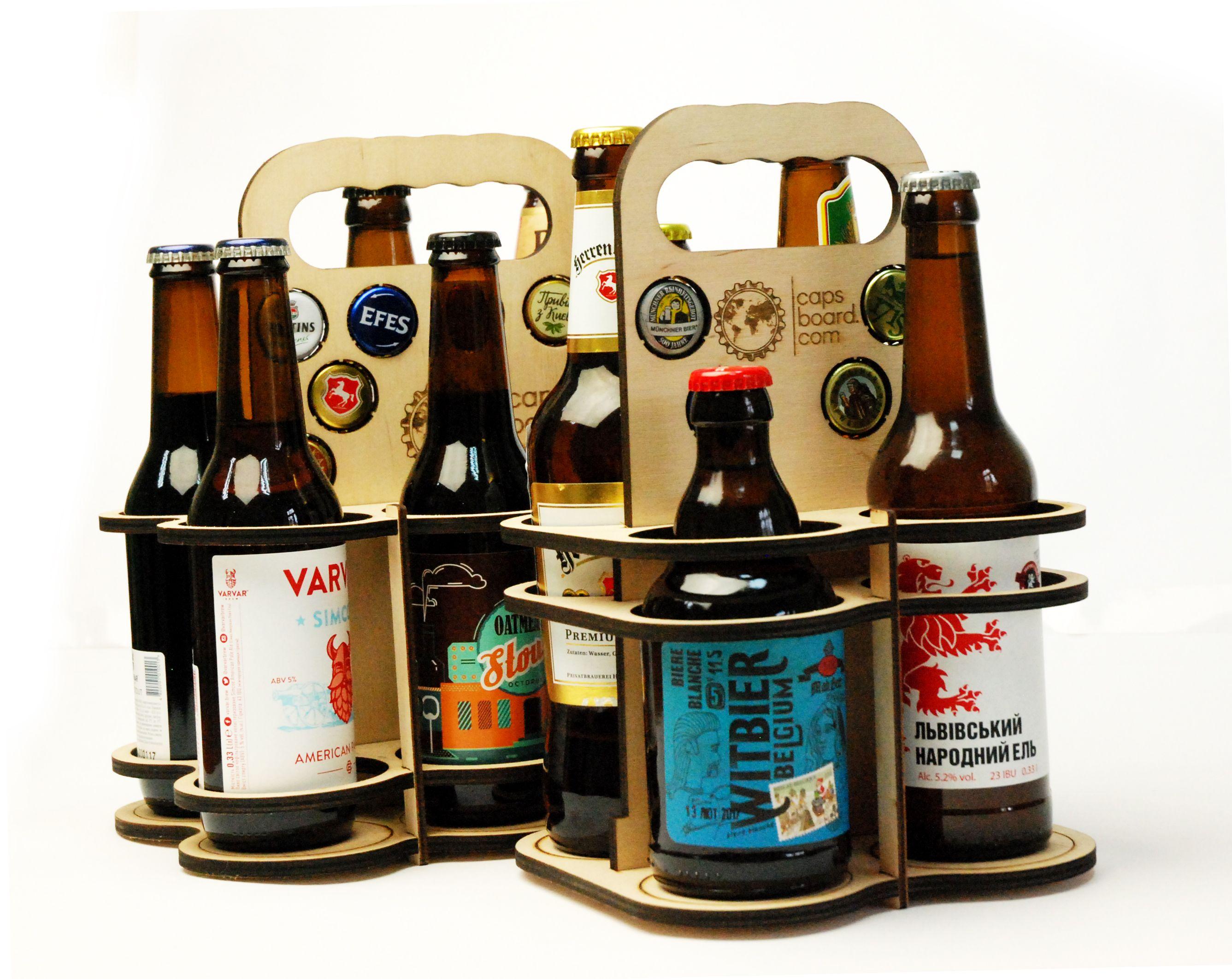 Wood Beer Carrier, Wooden Cap Holder, Beer Tote, Personalization Beer