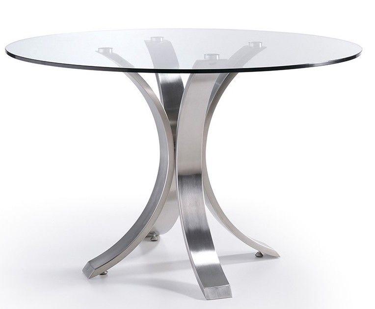 Table ronde design acier poli et verre trempé Majestua 120 ...