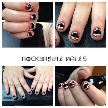creepy teeth nails  halloween nails pumpkin nail art