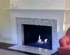 fireplace from brick to tile - Google Search | For the Home ...